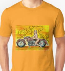 Girl on a Motorcycle, pinup girl art by Tom Conway Unisex T-Shirt