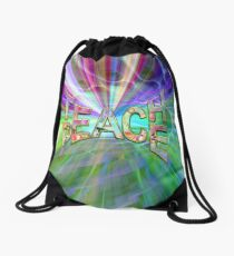 Teach Peace and Light Drawstring Bag