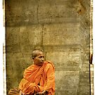 Monk at Angkor Wat Cambodia by Louise Fahy