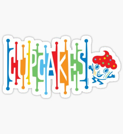 Retro Cupcakes - on lights Sticker