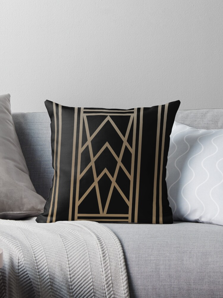 Art Deco Throw Pillows.Black And Gold Art Deco Throw Pillow By Absentisdesigns