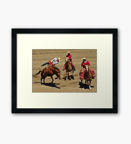 One Graceful Dismount Comin' Up! Montana Rodeo Photo Framed Print