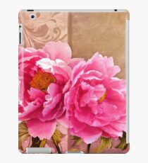 Sunlit magenta pink peony flowers, floral art iPad Case/Skin