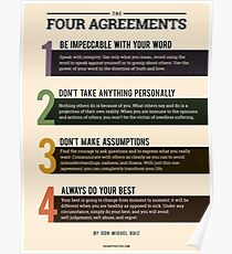 The Four (4) Agreements Poster by Don Miguel Ruiz - Toltec Wisdom - Inspirational Wall Art Poster