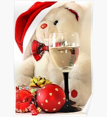 Teddy Bear celebrates with black stemmed wineglass Poster
