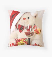 Mr Teddy Bear celebrates Christmas Throw Pillow