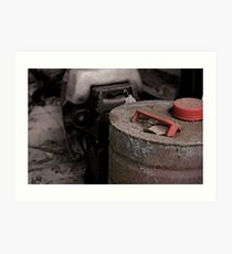Old rusty fuel container Art Print