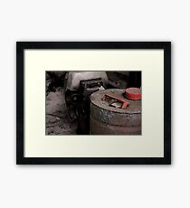 Old rusty fuel container Framed Print