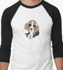 Chibi Basset Hound Baseball ¾ Sleeve T-Shirt