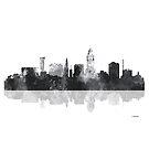 Lincoln, Nebraska Skyline - schwarz und weiß von Marlene Watson