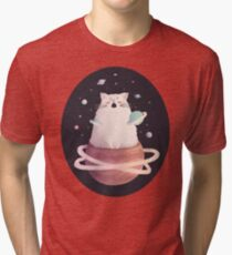 Yawning Space God Cat Tri-blend T-Shirt