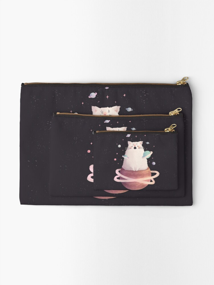Alternate view of Yawning Space God Cat Zipper Pouch
