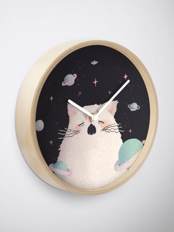 Alternate view of Yawning Space God Cat Clock
