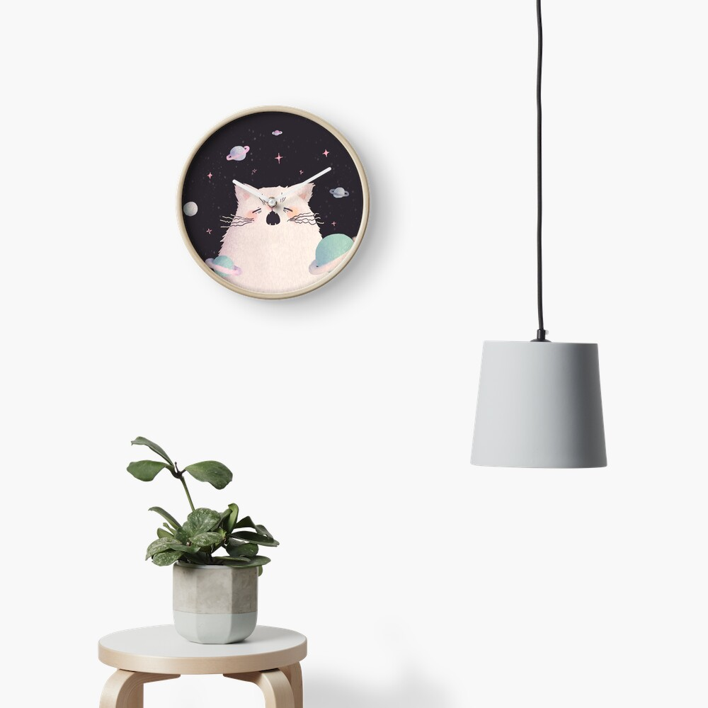 Yawning Space God Cat Clock