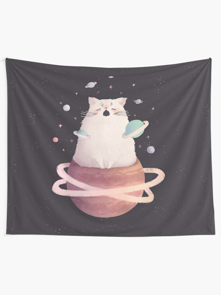 Alternate view of Yawning Space God Cat Wall Tapestry
