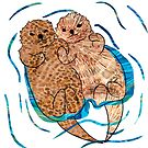 Adorable Otters Holding Hands by clovido