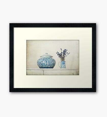 Lavender with Blue and White Ginger Jar Framed Print