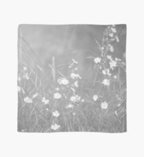 English Countryside Flowers in Black and White Scarf