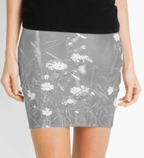 English Countryside Flowers in Black and White Mini Skirt