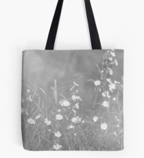 English Countryside Flowers in Black and White Tote Bag