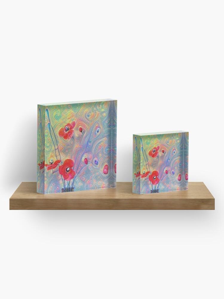 Alternate view of #Deepdreamed Poppies Acrylic Block