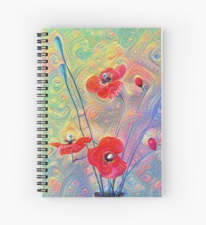 #Deepdreamed Poppies Spiral Notebook