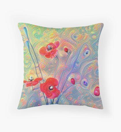 #Deepdreamed Poppies Throw Pillow