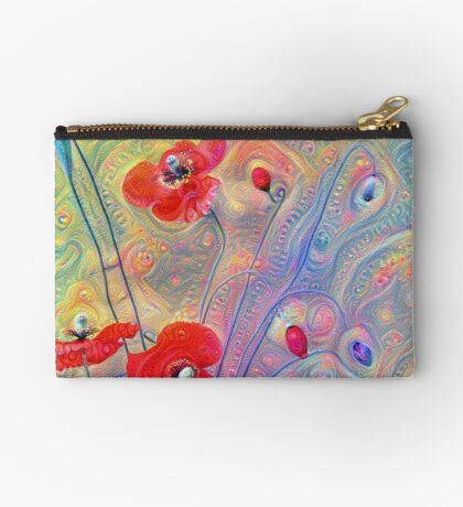 #Deepdreamed Poppies Zipper Pouch