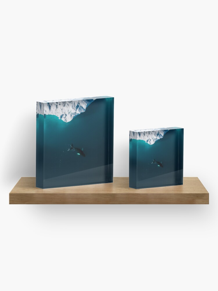 Alternate view of Aerial of a lone Humpback whale in front of an iceberg in Greenland Acrylic Block