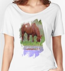 Red horse by the water Women's Relaxed Fit T-Shirt