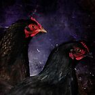 Dark portrait of two chickens by WesternExposure