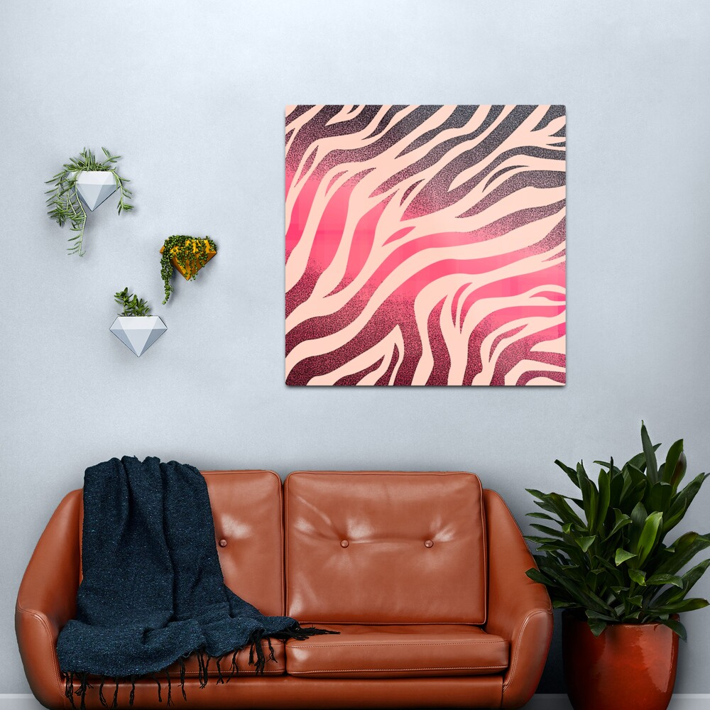 Exotic Red Pink Dark Animal Zebra Print Stripe Pattern Metal Print