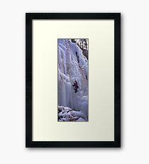 Maligne Fall Ice Climber Framed Print