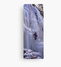 Maligne Fall Ice Climber Canvas Print