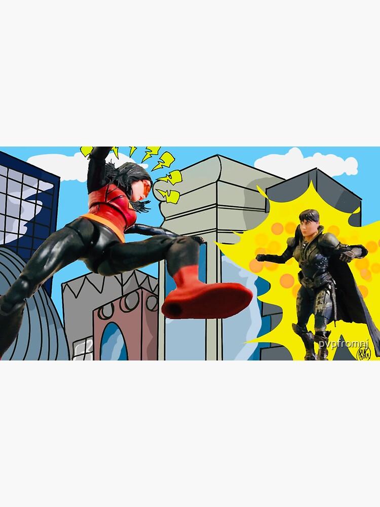 Woman Hero Vs. Woman Villain.   Action Figure Fight! by pvpfromnj