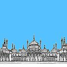 Brighton Royal Pavilion Facade Drawing ( Pale blue version ) by Adam Regester