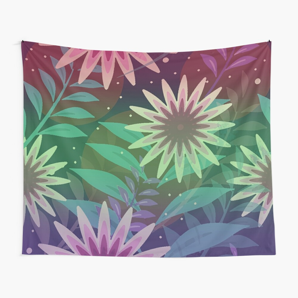 Colorful Flower Power Boho Chic Hippie Floral Jungle Wall Tapestry