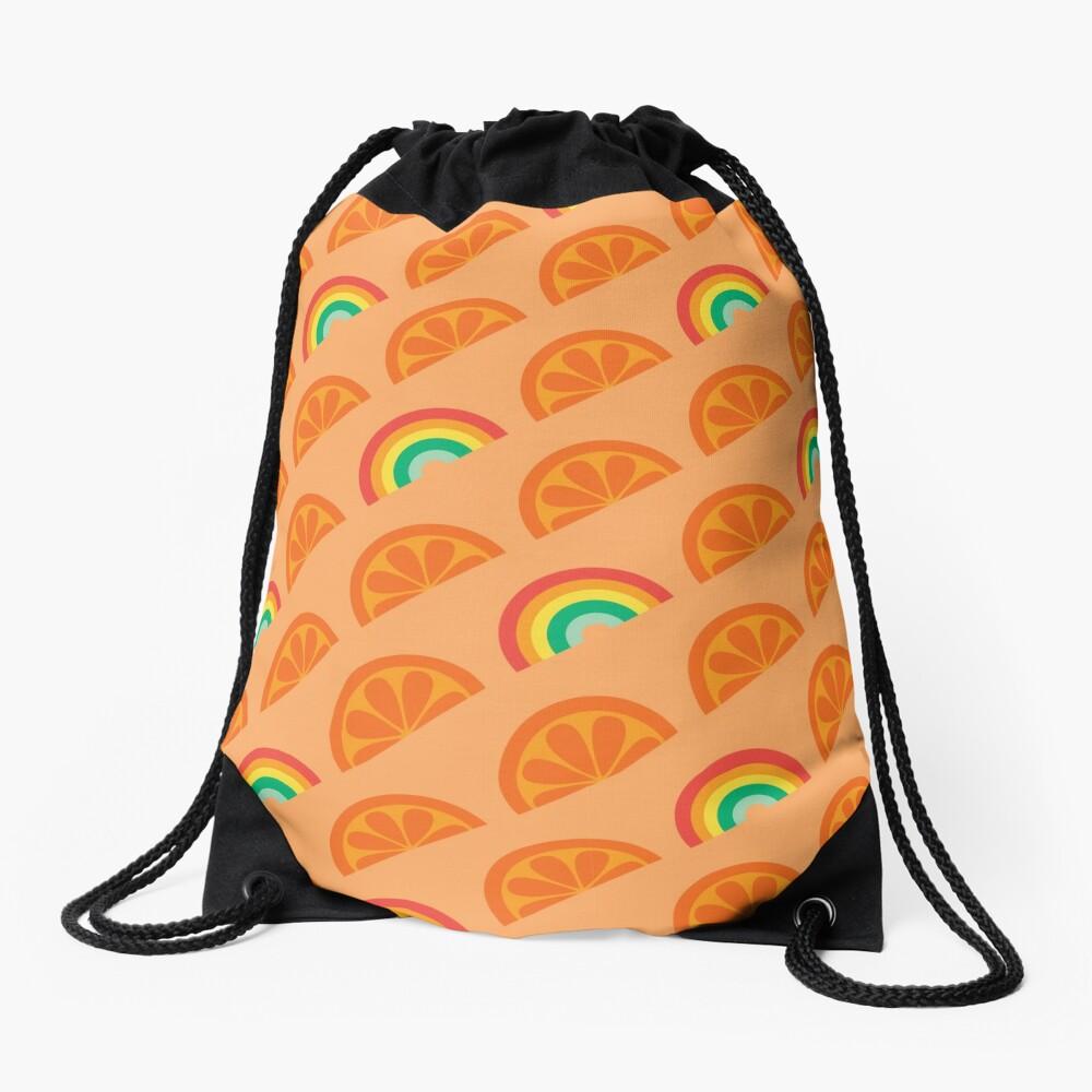 Orange Rainbow Pattern Design Drawstring Bag