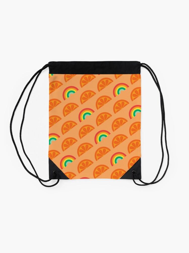 Alternate view of Orange Rainbow Pattern Design Drawstring Bag