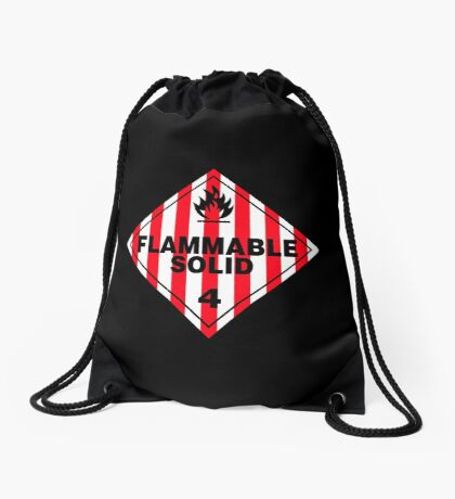 Flammable Solid Black Drawstring Bag