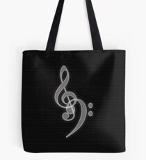 Music - Treble and Bass Clef Tote Bag
