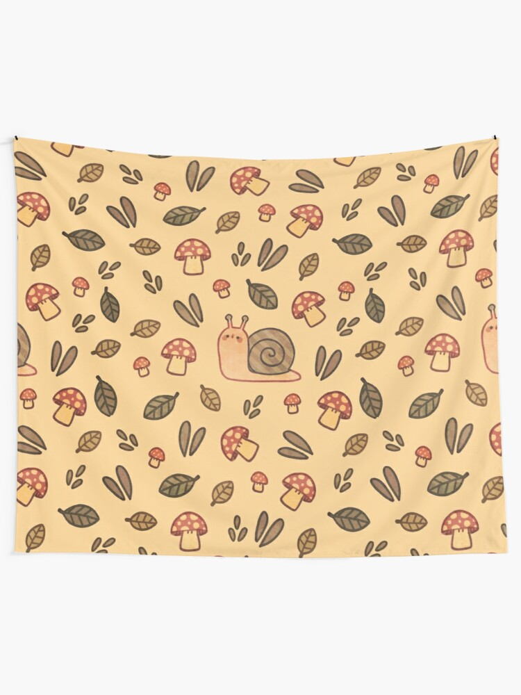 Alternate view of Snail, Mushrooms and Leaves  Wall Tapestry
