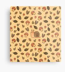 Snail, Mushrooms and Leaves  Metal Print