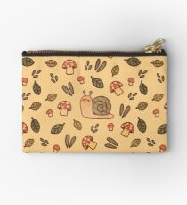 Snail, Mushrooms and Leaves  Zipper Pouch