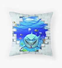 Wall mural: Shark swims out of the hole in the wall Floor Pillow