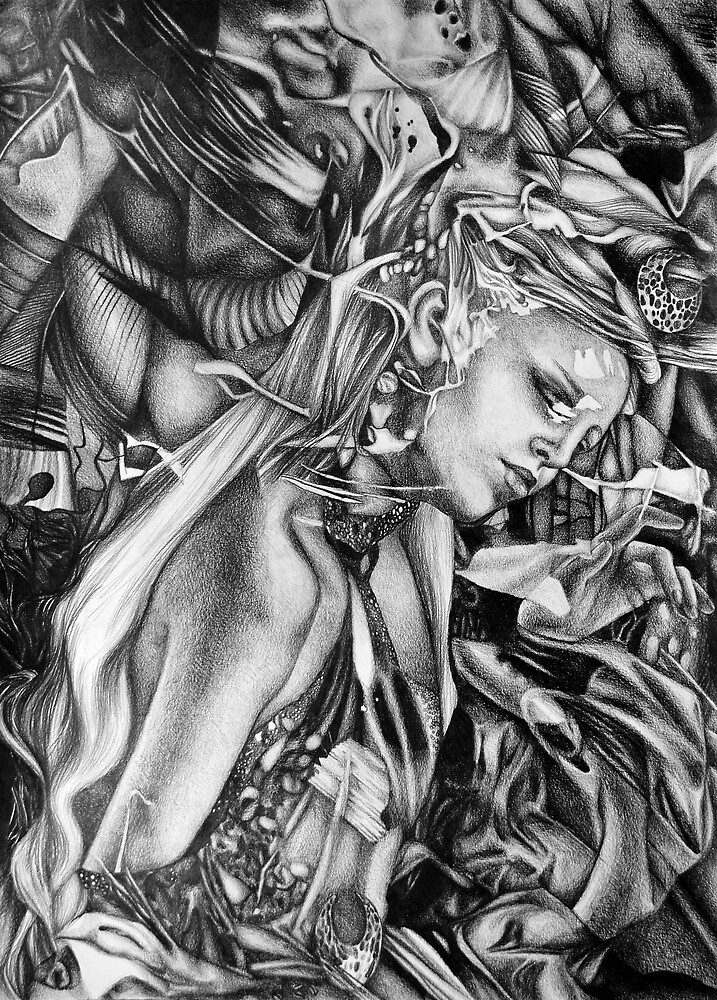 Silent Whispers, 2019, 50-70cm, graphite crayon on paper by oanaunciuleanu