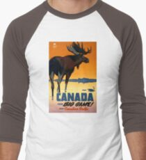 Canada Moose Vintage Travel Poster Restored Men's Baseball ¾ T-Shirt