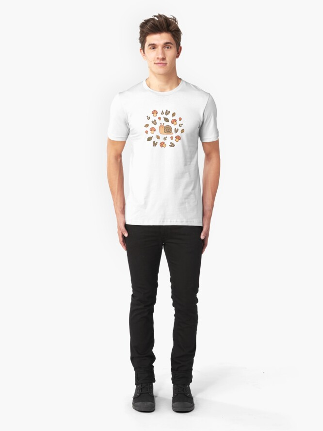 Alternate view of Snail, Mushrooms and Leaves  Slim Fit T-Shirt