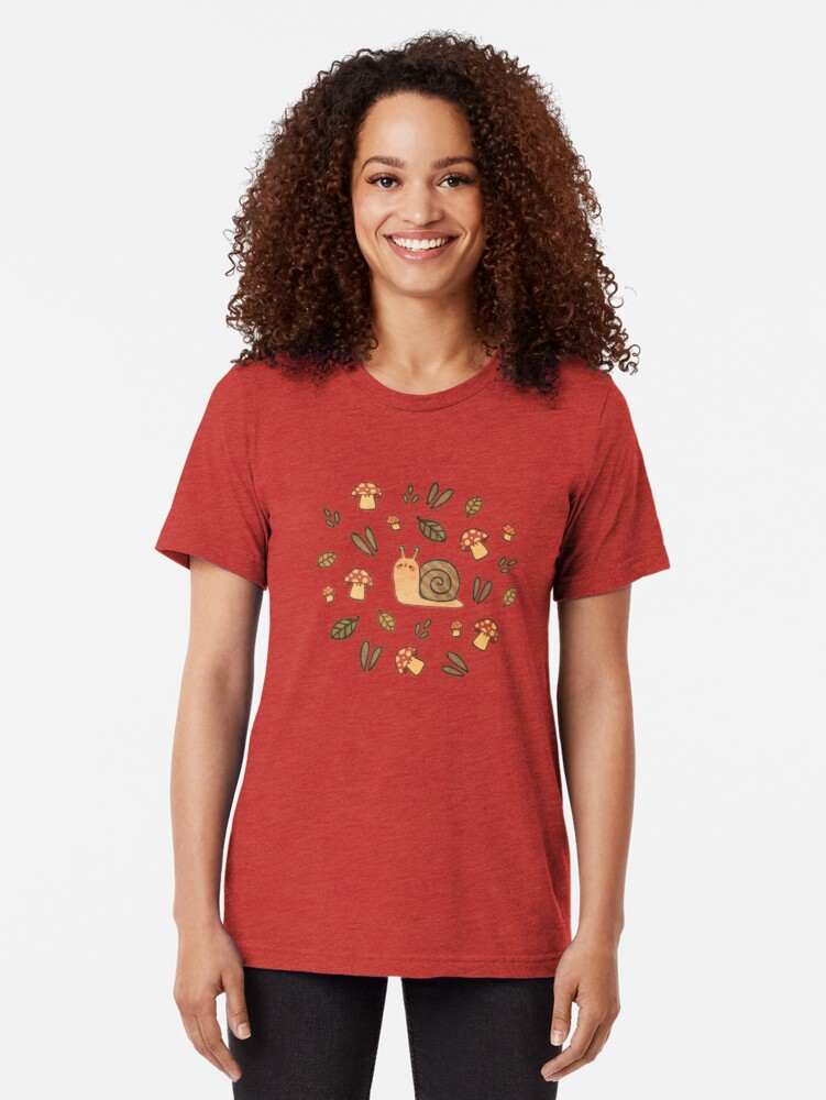 Alternate view of Snail, Mushrooms and Leaves  Tri-blend T-Shirt
