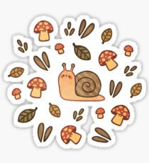 Snail, Mushrooms and Leaves  Sticker